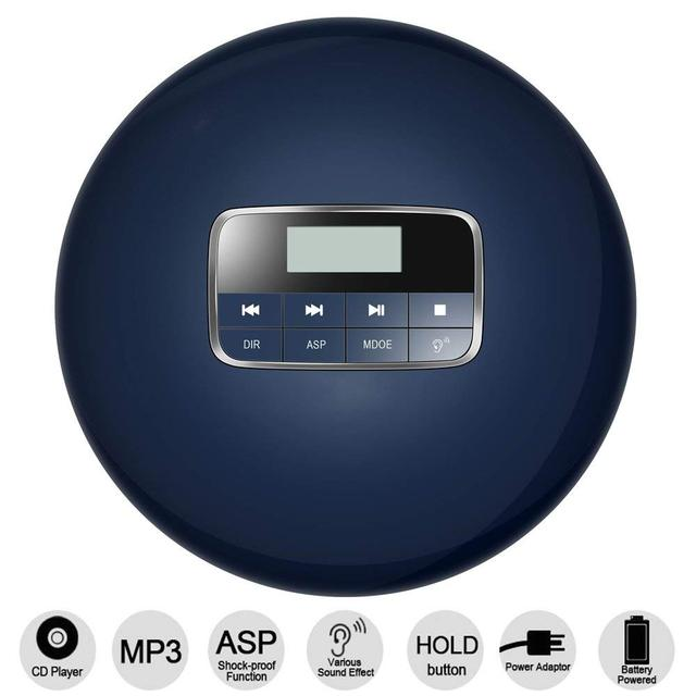 HOTT Portable CD Player With LCD Headphone Jack Anti Slip Shockproof Protection Compact CD Music Disc Walkman Player