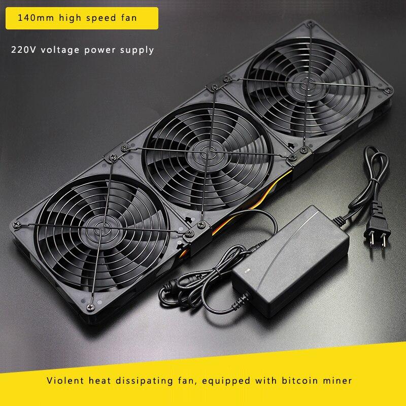 Combinaison multi-ventilateurs haute vitesse à faible bruit de 14 CM pour l'ingénierie de refroidissement et de ventilation Bitcoin Mining avec adaptateur 110-220 V