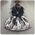 Branco bebê meninas vestido novo casamento do vintage vestido de verão 2016 roupas sem mangas crianças terno 2-7 T preto robe fille enfant