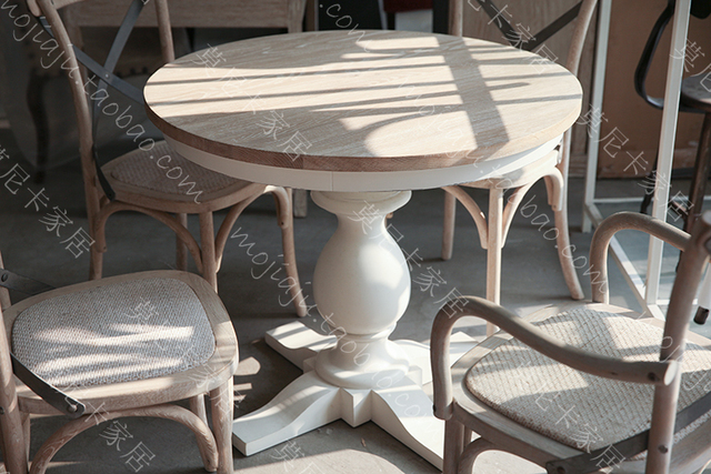 americaine continental francais chene bois pour faire le vieux meubles de jardin ivoire blanc table ronde