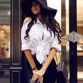 New Fashion Women Summer Sexy Off Shoulder Blouse Long Sleeve Turn Down Neck Plus Size White Shirts Women Tops