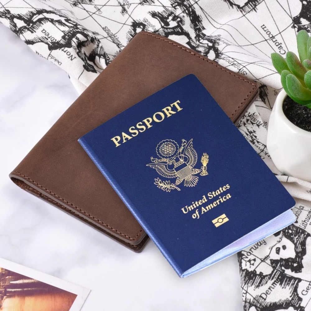 Funda de pasaporte de cuero genuino de gama alta soporte de tarjeta de crédito sólida Vintage para hombres y mujeres funda de pasaporte Cartera de Viaje Unisex de negocios