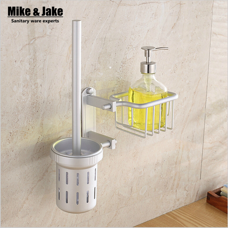 Bathroom accessories aluiminum toilet brush set with shelf wc brush with basket bathroom shelf toilet brush holder