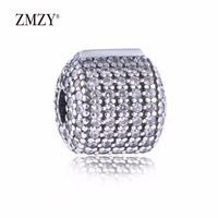 ZMZY Authentic 925 Sterling Silver Charms Pave Silver Clip With Clear Cubic Zirconia Beads Fits Pandora