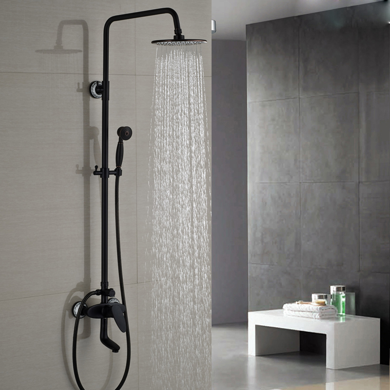 Modern Single Lever 8 Rainfall Tub Filler Shower Faucet Set Bathroom Bath Shower Mixer Taps Oil