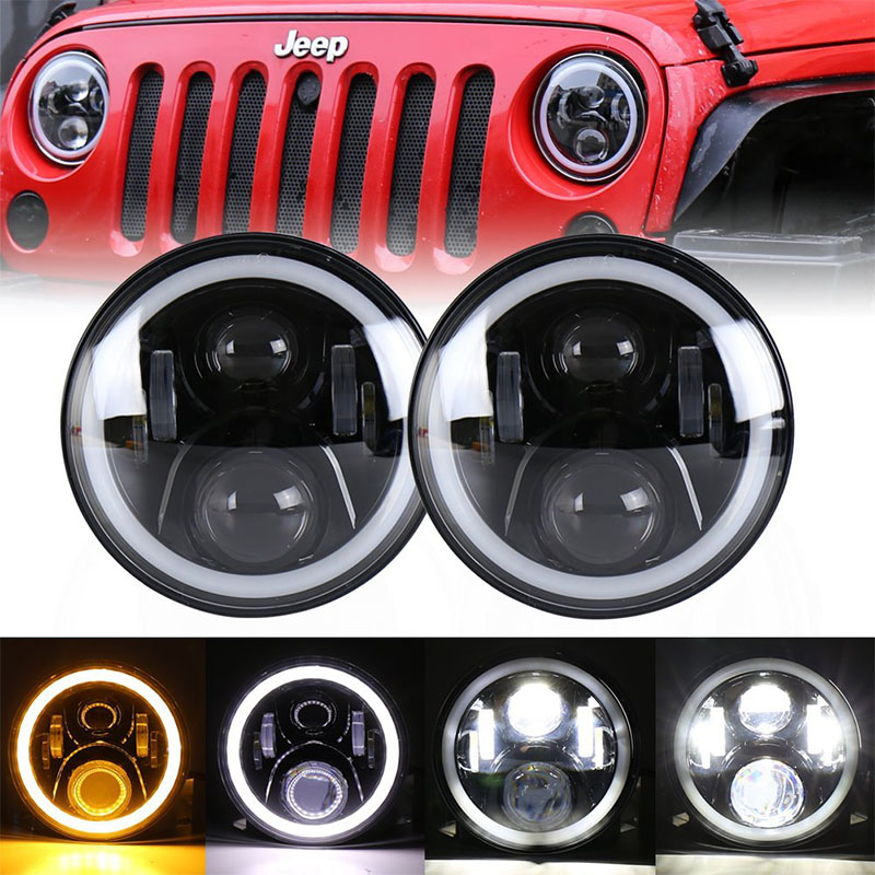 7 inch Daymaker led headlight for Jeep Wrangler Hummer Harley Moto 7'' 50W High Low beam angel eyes DRL for Nissan Patrol Y60 цена