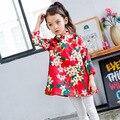 2016 Meninas Novas Roupas de Outono Vestido Tradicional Chinês Para Crianças Azul Vermelho Flor Meninas Vestidos de Noite Para a Festa de Casamento E