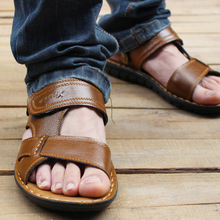 New Summer 2016 Men's Sandals Wedge Sandals Casual Men's Real Leather Sandals Slippers SIZE 38-44 Free Shipping
