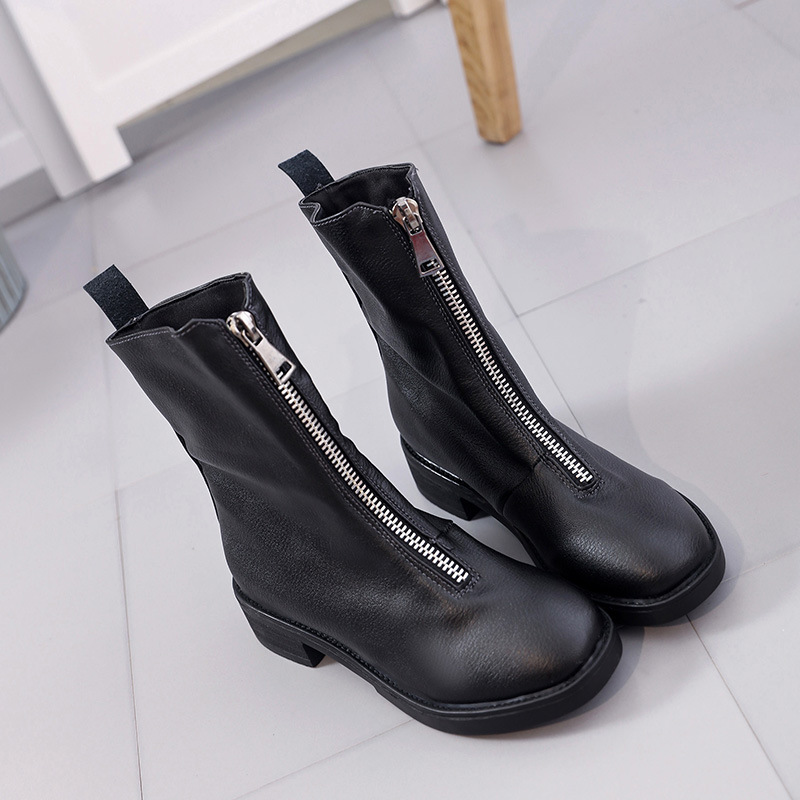 British Front Zip Ankle Boots Women 2017 Fall Winter Fashion Low Thick Heel Martin Boots Black Shoes Woman short boots woman the fall of 2017 a new restoring ancient ways british wind thick boots bottom students with martin boots