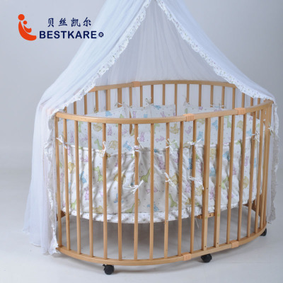 European large oval baby bed solid wood multifunctional safety game fence Baby Toddler oval fence camp safety oval xl lock