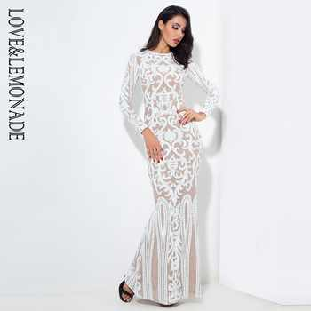 Love&Lemonade  Sexy Self-Cultivation White Geometric Graphics Sequins Maxi Dress LM0591 Autumn/Winter - DISCOUNT ITEM  15% OFF All Category