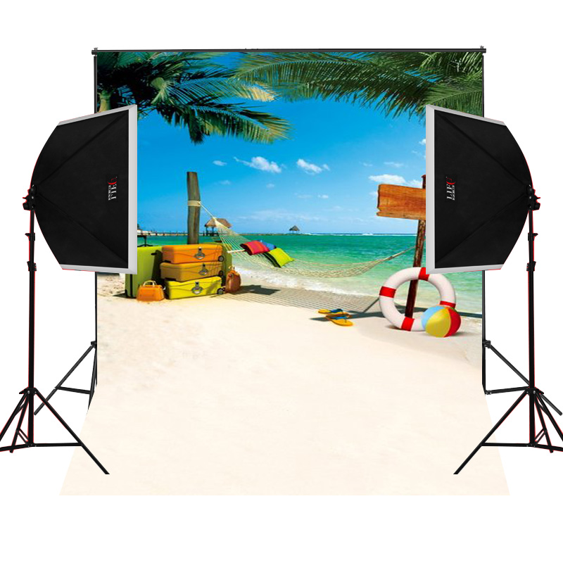 Beach suitcase scenic for kids photos camera fotografica studio vinyl photography backgr ...