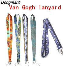 DMLSKY 5pcs/set Van Gogh Painting Phone Lanyard Cool Keychains Lanyards for keys ID Badges Neck Straps Gifts M2678