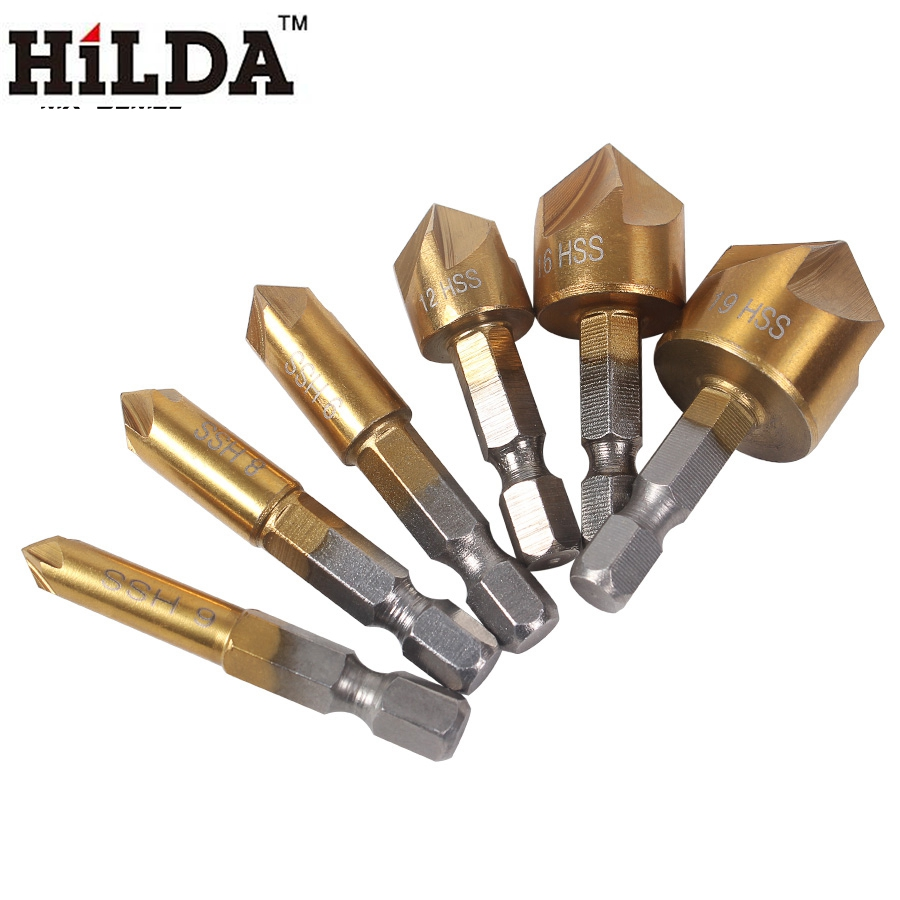 HILDA 6mm-19mm Countersink Drill Bits 5 Flute Chamfer Countersink 1/4 Hex Shank HSS 90 Degree Wood Chamfering Cutter hss hex shank pocket drill bits