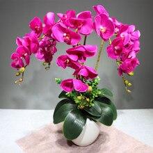 Фиолетовая Орхидея Фаленопсис 90 см, настоящий цветок, искусственный цветок, свадебные цветы, орхидеи, Цветочный, для рождественской вечеринки