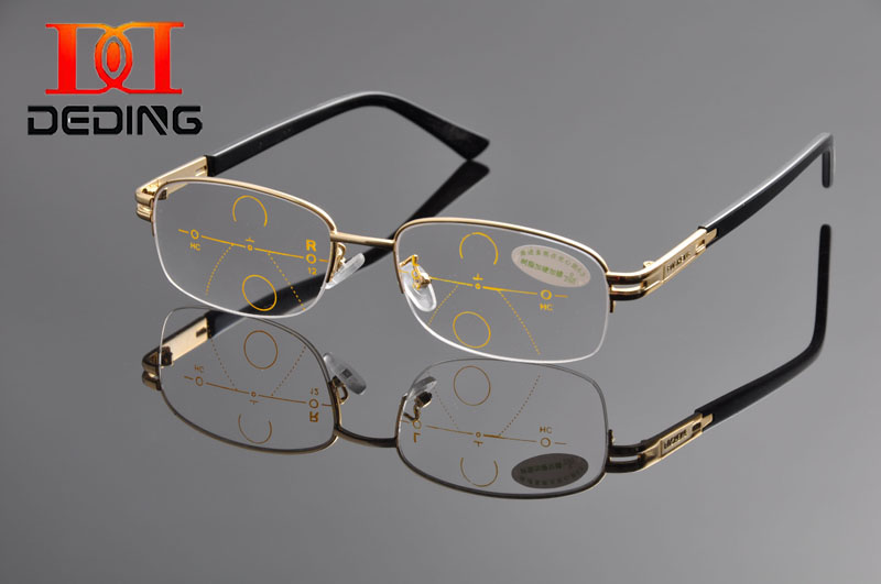 DEDING Gentle Men Grade Brand Design Metal Half Rim Rectangular Progressive Multifocal Reading Glasses oculos de leitura DD1134