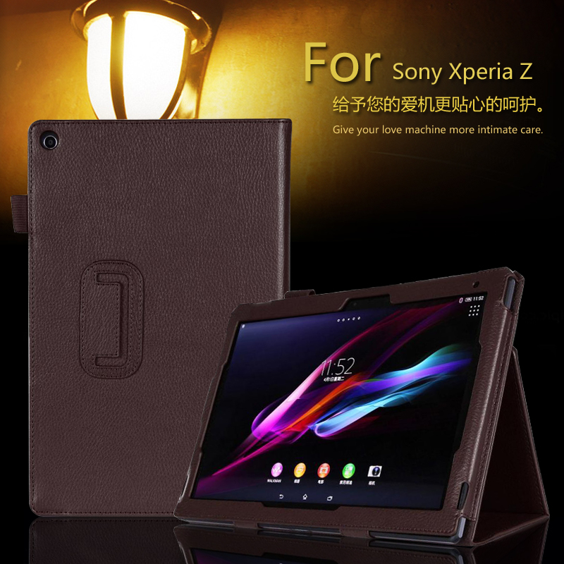 For Sony Xperia Tablet Z Z1 10.1 inch Tablet PU Leather Case Stand Magnetic Folio Cover universal crazy horse leather stand cover for ipad air sony xperia tablet z 10 inch tablet pc black