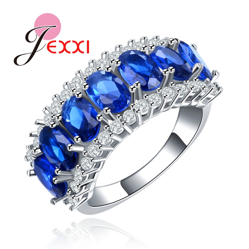 PATICO S925 Silver High Quality Blue Cubic Zirconia Engagement Finger Ring Fashion Women Bands Jewelry Finger Rings Lady