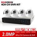 1080 P 4Ch Sistema de Câmera de 4 Canais DVR HDCVI 2MP HD CVI IR Indoor Dome Segurança Vigilância CCTV Sistema DVR Kit P2P Móvel vista