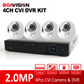 1080P 4 Channel HDCVI DVR Camera System 4Ch 2MP HD CVI IR Indoor Dome Surveillance Security CCTV DVR System Kit Mobile P2P View