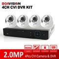 1080P 4 Channel HDCVI DVR Camera System 4Ch 2MP HD CVI IR Indoor Dome Surveillance Security CCTV DVR System Kit Mobile P2P View