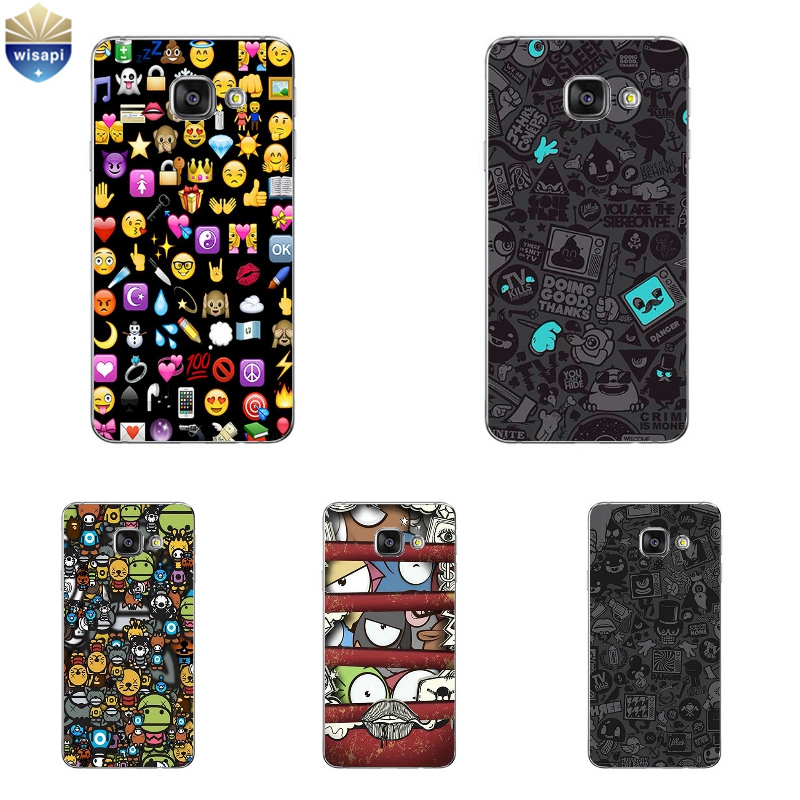 Phone Case For Samsung Galaxy A3 A5 A7 (2016) A8 A9 Back Cover Note 4 5 7 TPU Shell Cellphone Emoji Expression Package Design