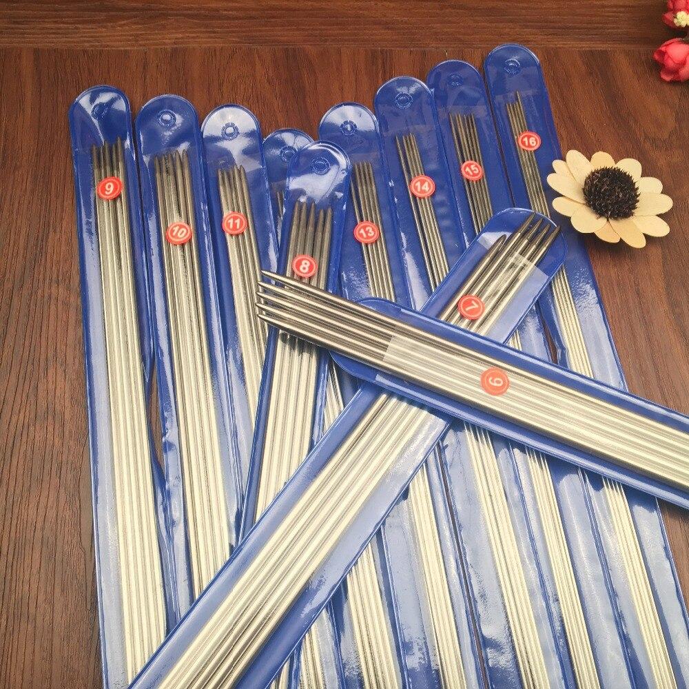 Envío gratuito 55 unids/set 25 cm Acero inoxidable recto agujas de tejer ganchos de ganchillo agujas de tejer tamaño 6-16