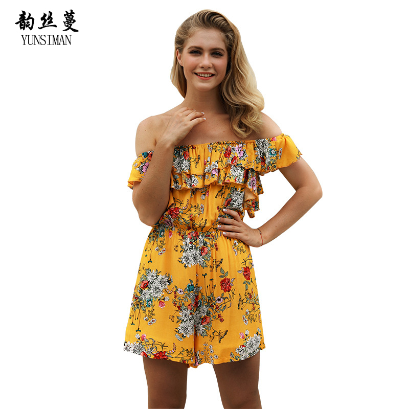 Summer Woman Bohemian Playsuits Ladies Casual Beach Chiffon Jumpsuit Sexy Off Shoulder Floral Print Loose Shorts Romper 12C1