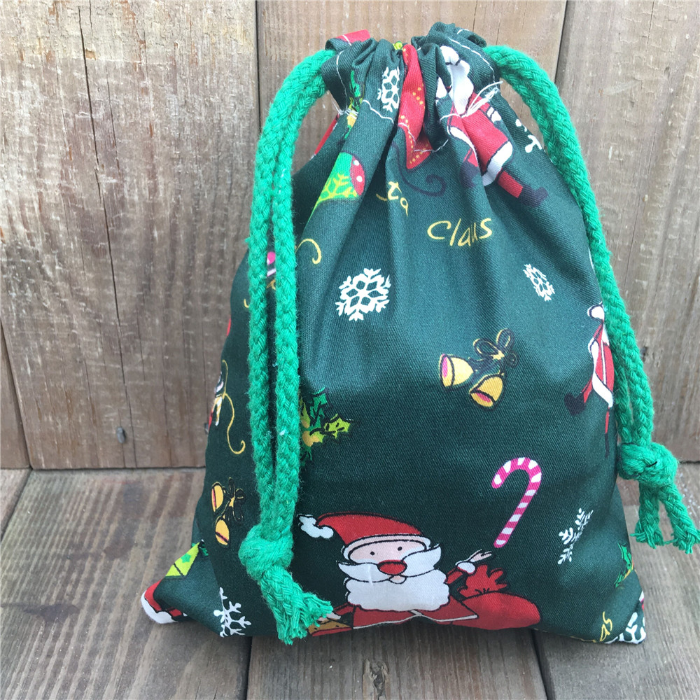 YILE 1pc Cotton Twill Drawstring Gift Bag Party Favor Christmas Theme Santa Claus Green N830b