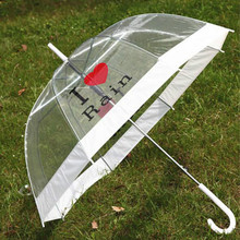 Ultra-light folding umbrella Transparent straight transparent For women
