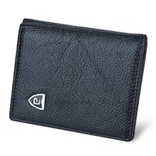 Männer Echtes Leder Brieftasche Einfarbig Hauptschichtrindleder Weiches Männer Vertikale Kurz Echtem Leder Mini Brieftasche