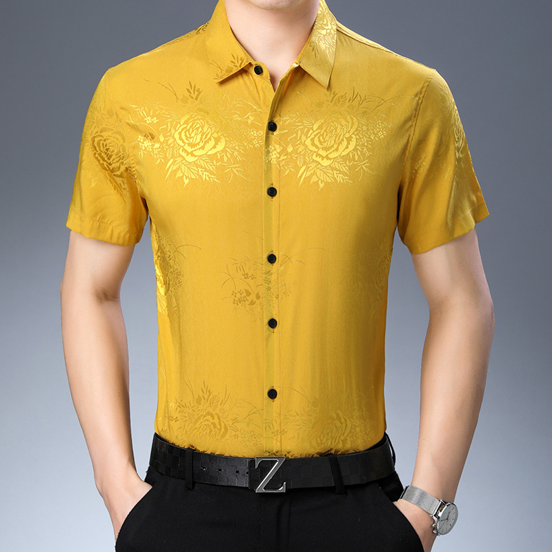 New Arrival Mens Silk  Dress Shirt Short Sleeve Floral Shirts  Elegant Male Casual Floral Soft Silk Clothes
