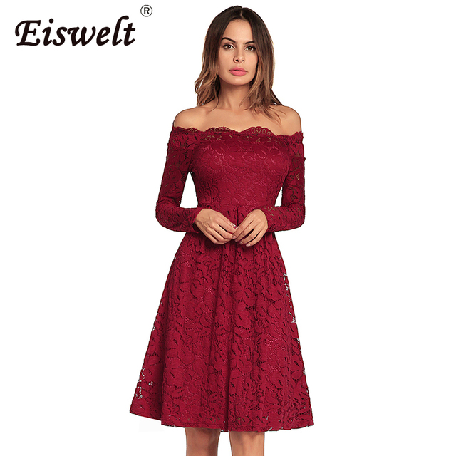 324d953199b Off Shoulder Robe Femme Embroidery Vintage Lace Dress Women Dresses Long Sleeve  Casual Evening Party A Line Big Size Dress