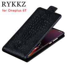 RYKKZ Genuine Leather Flip Up and Down Case Cover  For Oneplus 6T Mobile Phone Stand 6 5T