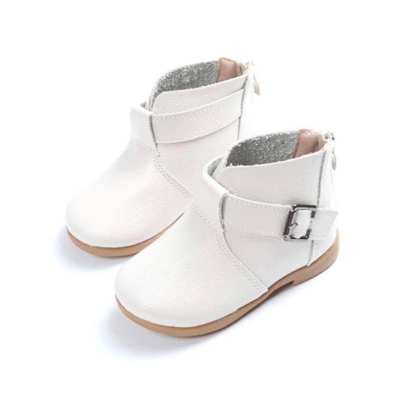 d3dec085b ... Детская обувь, кожаные сапоги для девочек, весенние новые ботильоны  принцессы на молнии, модная ...