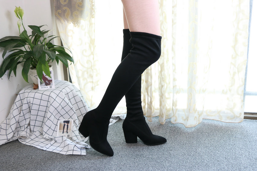 Women Hoof Heels Winter Shoes Pointed Toe Sexy Elastic Fabric Boots 74