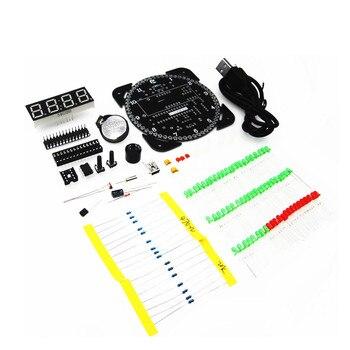 Obrotowy DS1302 cyfrowy moduł wyświetlacza LED Alarm elektroniczny zegar cyfrowy wyświetlacz LED temperatury zestaw DIY płytka edukacyjna 5V