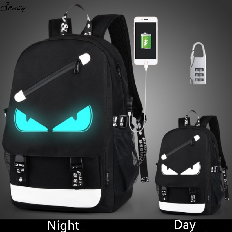 все цены на Anti Theft backpack USB charging Men Laptop Backpacks For Teenagers Female Mochila Travel backpack School bags Luminous Backpack