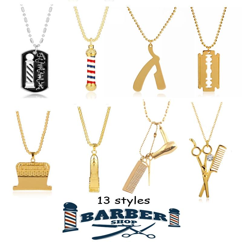 Barber shop pólo colar ferramentas de cabeleireiro 3d barbeiro pólo navalha secador tesoura pente cabeleireiro pingentes colares