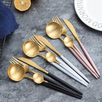 Luxury Dinnerware Set Stainless Steel Plating Gold Blue Black Knife Fork Tableware Cutlery White European Western Food Set 4pcs