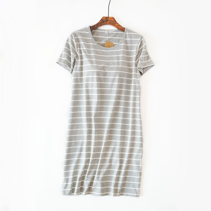 Summer Stripe Short sleeve nightdress women Korea sexy nightshirts lounge dress women sleepwear pyjamas night gown cotton