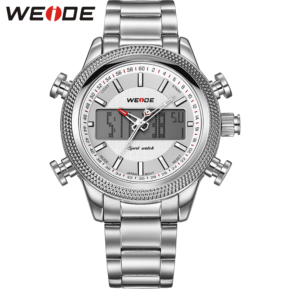 ФОТО WEIDE New Fashion Sports Watches Original Japan Quartz And LCD Digital Dual Movements 30 Meters Water Resistant Silver Men Clock
