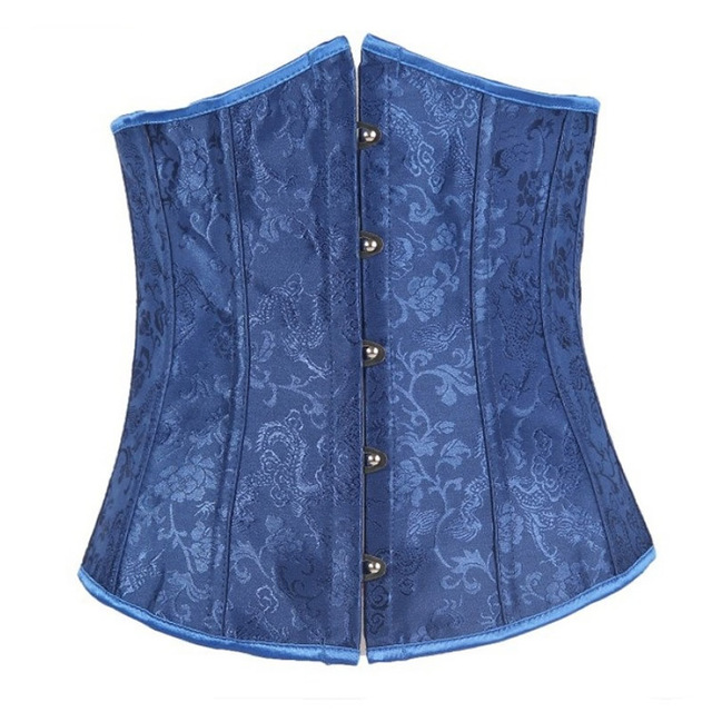 Sexy Shaped Corset Karset Bustier Women Lace Up Jacquard Solid blue Floral Push Up Sexy Corsets shaped T-back Top Waist Cincher