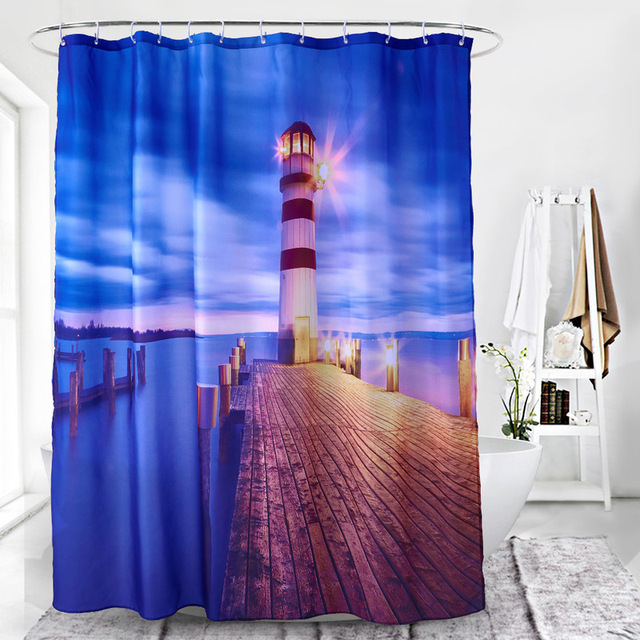SunnyRain 1 Piece Luxury Lighthouse Bathroom Curtain For Home Water Resistant Shower 180x180CM