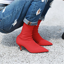 Prova Perfetto 2018 New Women Sock Boots Pointed Toe Elastic High Boots Slip On High Heel Ankle Boots Women Pumps Stiletto Botas