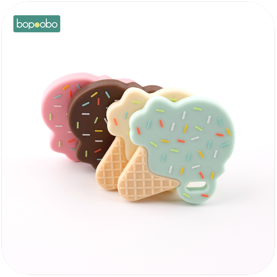 Bopoobo Ice Cream Lovely Silicone Teether Baby Toys Teething Chewable BPA Free Pendant For Nursing Necklace Baby Teether