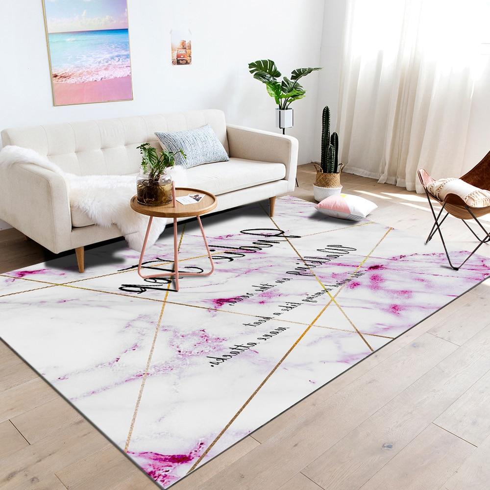 Moderne minimaliste salon marbre rayures tapis doux anti-dérapant chevet couverture tapis anglais personnages polyester tapis de sol