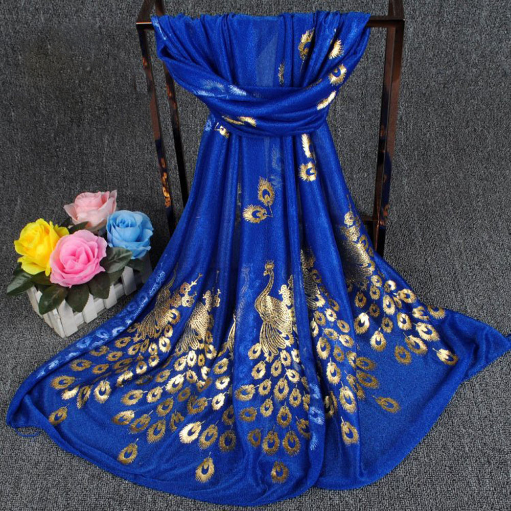 Fashion Women Long Print   Scarf     Wrap   Ladies Shawl Girls Large   Scarves   Bronzing peacock   scarf