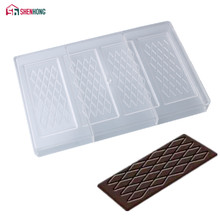 SHENHONG Rhombic Pattern Polycarbonate Chocolate Mold Mould PC Fancy Bars Baking Molds Candy