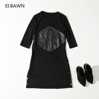 נשים שחורים ארוך קו שמלות ייחודיות שמלת גבירותיי שמלת עור ארוך עור זול שמלת חג טאן